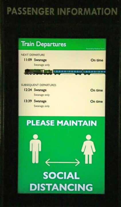 Real-time train information screen Corfe Castle Station